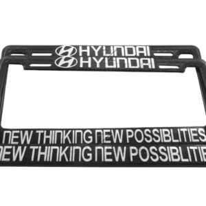 SET DE 2 MARCOS PORTA PLACAS HYUNDAI, NEW THINKING NEW POSSIBILITIES, TAMAÑO NACIONAL