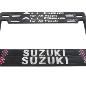 SET DE 2 MARCOS PORTA PLACAS SUZUKI, ALL GRIP FOR ALL PEOPLE, TAMAÑO NACIONAL